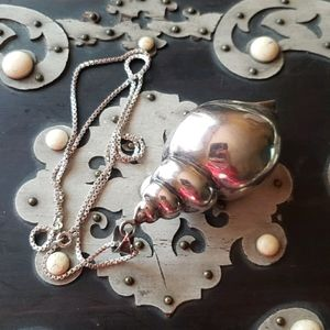 Enormous Vintage Sterling Shell Necklace